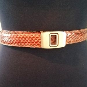 Vintage Brown Leather & Snakeskin Belt